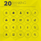 Simple thin banking icons collection. Simple thin minimalistic banking icons collection on yellow polygonal background Stock Images