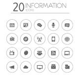 Simple thin information icons collection on white Stock Images