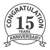 Thin line fifteenth years anniversary icon. Simple thin line fifteenth years anniversary icon vector Royalty Free Stock Photo