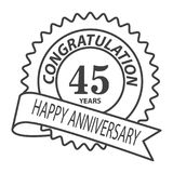 Thin line forty fifth years anniversary icon. Simple thin line  forty fifth years anniversary icon vector Stock Photos