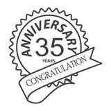 Thin line thirty fifth years anniversary icon. Simple thin line  thirty fifth years anniversary icon vector Stock Photography