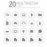 Simple thin multimedia icons collection on white Stock Photos