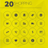 Simple thin shopping icons collection Stock Photography