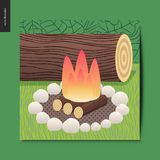 Simple things - camp fire. And firewood with white stones, and a log for sitting on the background, summer postcard, vector illustration Royalty Free Stock Images