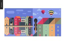 Simple things - color. Flat cartoon vector illustration of houses row of town houses, canal bank, clouds, sky, townhouses, tall trees, hot air balloons and Stock Photo