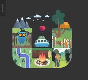 Simple things - forest set composition on a black background. Simple things - forest set on a black background - flat cartoon vector illustration of owl in Stock Images