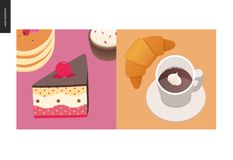 Simple things - meal. Flat cartoon vector illustration of cake with cherry on top, stack of american pancakes with berries on top, cupcake, croissant and vector illustration
