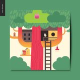 Simple things - tree house. A tree with a red trunk, few wooden houses on the branches and a ladder towards them, summer postcard, vector illustration Stock Photos