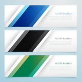 Simple three color banner headers set. Vector Royalty Free Stock Images