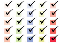 Simple Tick box set. Collection of colour filled tix boxes Royalty Free Stock Photos