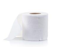 Simple toilet paper on white Stock Photo