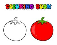 Simple tomato outline for colouring book isolated on white background.  royalty free illustration