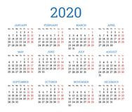 Simple traditional calendar layout for 2020 year royalty free stock photography