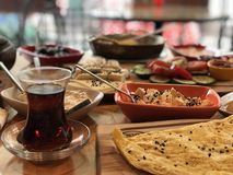 Simple traditional Turkish breakfast royalty free stock photography