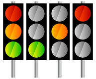 Simple traffic light / traffic lamp icon set Royalty Free Stock Photography
