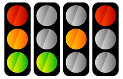 Simple traffic light / traffic lamp icon set Stock Photography