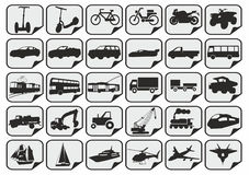 Simple transport icons. 30 simple black traffic icons Stock Photos