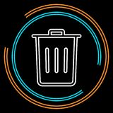 Simple Trash Thin Line Vector Icon vector illustration