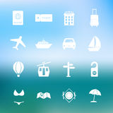 Simple travel icon set vector. Simple summer and travel icon set vector Stock Photo