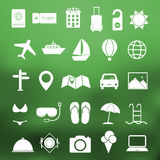 Simple travel icon set vector. Simple summer and travel icon set vector Royalty Free Stock Photos