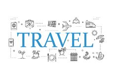 Simple travel icons set. Universal travel icons to use for web and mobile UI, set of basic UI travel elements royalty free illustration
