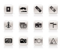 Simple Travel and trip Icons Stock Photos