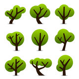 Simple tree icons. Set of 9 tree icons in simple shapes and designs Stock Image