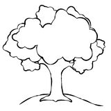 Simple Tree Line Art. A simple tree illustration. Line art (black and white illustrations) are perfect for projects where color is not an option or undesired Stock Images