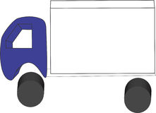 Simple truck in 3d perspective with room on traile. 3d truck with blue cab and short white tractor. Room for text. Cab over engine yard truck stock photos