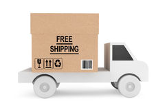 Simple Truck Load with Free Shipping Box. On a white background stock illustration