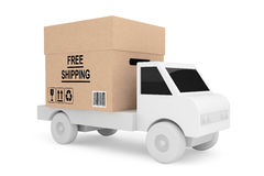 Simple Truck Load with Free Shipping Box. On a white background royalty free illustration