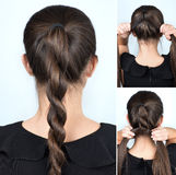 Simple twisted hairstyle tutorial Royalty Free Stock Image