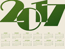 Simple 2017 typography calendar Royalty Free Stock Images