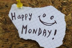 A simple and understandable caption of a happy monday. Good monday royalty free stock photos