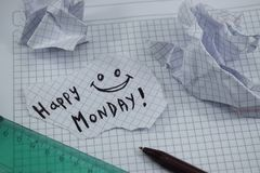 A simple and understandable caption of a happy monday. Happy good monday stock image