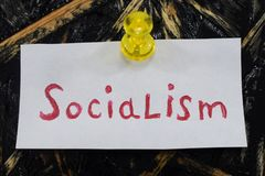 A simple and understandable inscription, socialism. Capitalism stock photos