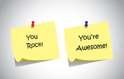 Simple Unique Positive Feedback Text Post It Notes Collection Set Stock Images