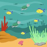 Under Water world illustration Vector Art Logo Template and Illustration. Simple and unique Under Water world illustration for various purposes, for best use Royalty Free Stock Photos