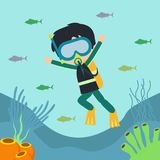Under Water world illustration Vector Art Logo Template and Illustration. Simple and unique Under Water world illustration for various purposes, for best use Stock Image
