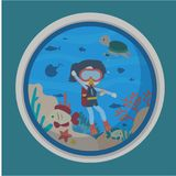 Under Water world illustration Vector Art Logo Template and Illustration. Simple and unique Under Water world illustration for various purposes, for best use Stock Photo