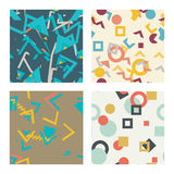 Simple universal colorful geometric seamless pattern. Set of simple universal colorful geometric seamless pattern stock illustration