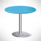 Simple unoccupied round blue table Royalty Free Stock Image
