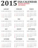 Simple USA Calendar for 2015 Stock Photo
