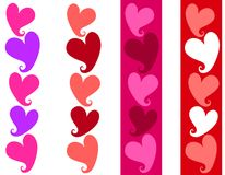 Simple Valentine Heart Borders. A clip art illustration featuring a variety of 4 colorful heart borders Stock Photo