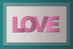 Simple Valentine`s day card PaperCraft vintage style with word L Stock Images