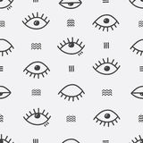 Simple vector abstract seamless pattern with eyes. Royalty Free Stock Image