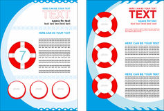 Simple vector booklet with buoys, with predominance of blue color Stock Photos