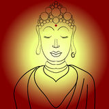 Simple Vector Buddha. Simple Vector Buddha in line hand drawn sketch style on gradient background in red and yellow colors Royalty Free Illustration