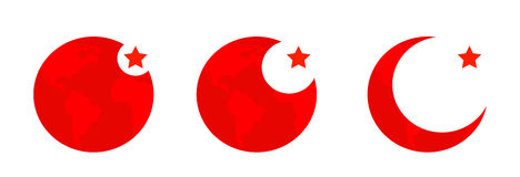 Simple vector button flag - Turkey. Three icons Royalty Free Stock Images
