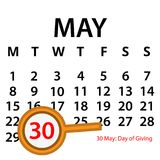 Simple vector calendar. May 30 th. Commemorate the Day of Giving. EPS file available. see more images related Royalty Free Stock Photos